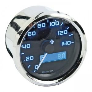 Contachilometri digitale cromato Daytona Velona fondoscala 140 Kmh – luce blu