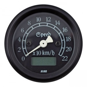 Contachilometri elettronico classic nero / fondo nero MMB Ø 48mm