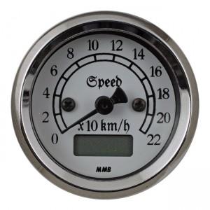 Contachilometri elettronico classic cromato fondo bianco MMB Ø 48mm