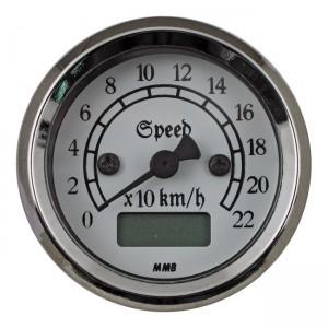 Contachilometri elettronico classic cromato fondo bianco MMB Ø 48mm – luce rossa