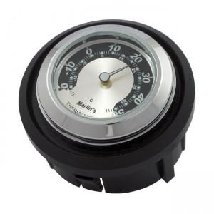 Termometro cromato fondo argento/nero Marlin's da incasso specifico per Harley Davidson FLHT dal 1997 al 2013