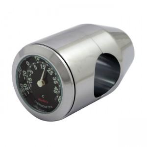 """Termometro cromato fondo nero Marlin's universale compatibile con manubri da 7/8"""" e 1"""""""
