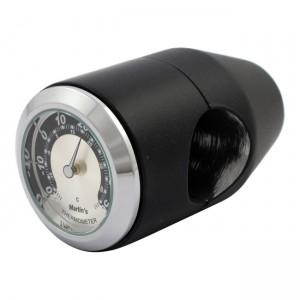 """Termometro nero fondo argento/nero Marlin's universale compatibile con manubri da 7/8"""" e 1"""""""
