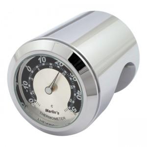 """Termometro cromato fondo argento/nero Marlin's universale compatibile con manubri da 7/8"""" e 1"""""""
