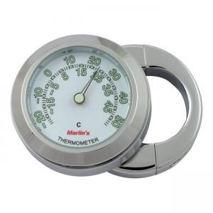 """Termometro cromato fondo bianco Marlin's mod.HBC universale compatibile con manubri da 7/8"""" e 1"""""""