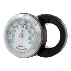 """Termometro nero fondo bianco Marlin's mod.HBC universale compatibile con manubri da 7/8"""" e 1"""""""
