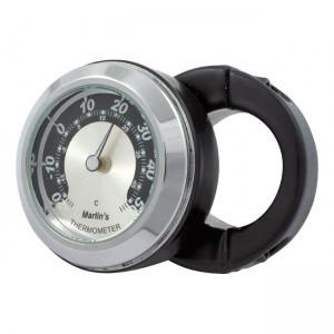 """Termometro nero fondo argento/nero Marlin's mod.HBC universale compatibile con manubri da 7/8"""" e 1"""""""