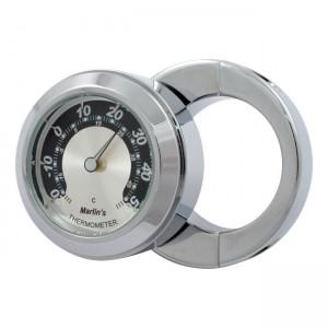 """Termometro cromato fondo argento/nero Marlin's mod.HBC universale compatibile con manubri da 7/8"""" e 1"""""""
