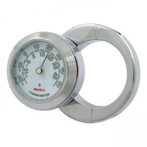 """Termometro cromato fondo bianco Marlin's mod.HBC universale compatibile con manubri da 1-1/2"""""""