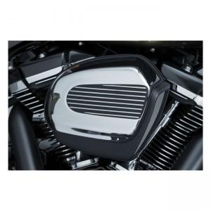 Cover filtro aria Kuryakyn mod.Finned Air in alluminio nero per Harley Davidson Touring, Trikes dal 2017 al 2019