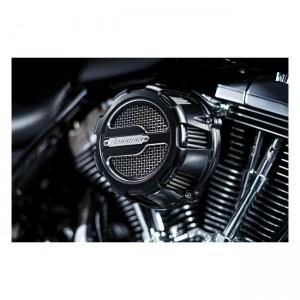 Filtro aria Crusher mod. Maverick nero satinato per modelli Harley Davidson con carburatori CV e Delphi EFI