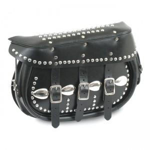 Borse laterali SAMWEL mod.King in pelle nera con borchie per modelli Softail