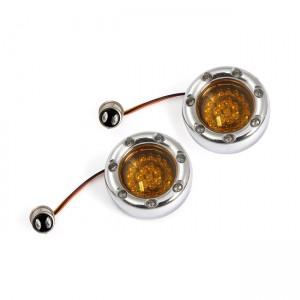 Frecce da incasso CUSTOM DYNAMICS per BULLET DYNAMIC RINGZ posteriore (doppio filamento) colore cromato con lente e led color ambra