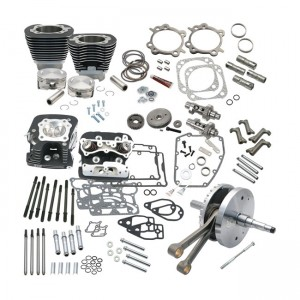 SES, 124 ''Twin Cam Hot set-up kit con teste. Nero, 06-17 Dyna; 07-16 Touring (excl. Twin-Cooled models) (NU)