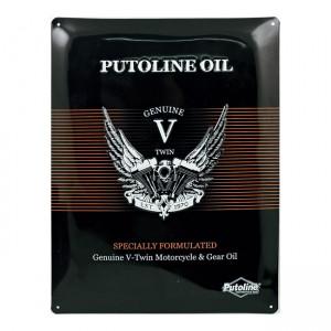 Putoline oil, targa in metallo con logo in rilievo