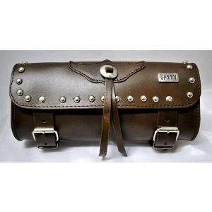 Barilotto 2,5 lt SPAAN Tool Bag in vera pelle marrone con borchie